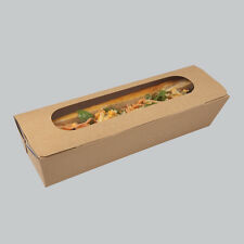 125 x Marroni Kraft Tuck Top CARTONE BAGUETTE HOTDOG Deli Vassoio Box