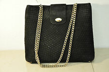 100% Auth VTG BALLY QUILTED BLACK SUEDE SHOULDER BAG CHAIN STRAP
