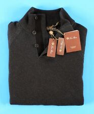NWT $1395 - LORO PIANA 100% CASHMERE Sweater - SUEDE Placket - Brown / Blue 50 M