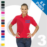 8 X Ladies Personalised Embroidered / Printed Polo Shirts Workwear Text/Logo