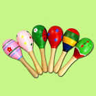 Colorful Wooden Cartoon Maracas Baby Musical Instrument Rattle Shaker Party Toy