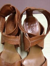 ausm AUTHENTIC CHLOE LEATHER SANDALS BROWN