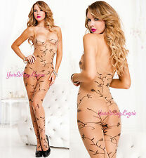 VINE PRINT Nude Body Stocking CROTCHLESS Tank Style Spaghetti Strap SPANDEX OS