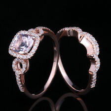 Hot!10K Rose Gold Halo 6mm Cushion Morganite Pave Diamond Engagement Sets Ring