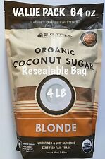 Big Tree ORGANIC Coconut Palm Sugar Blonde 4 lbs 64 oz Gluten Free Top Selling!!