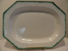 Antique Leeds Huge Platter Feather Green Edge Early 1800's - 200 years old