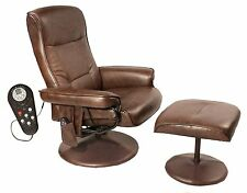 Massage Chair With Ottoman Heated Reclining Heat Swivel Recliner Leather Brown