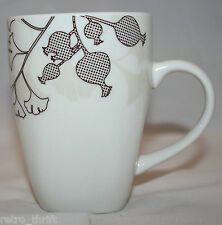 Urban Barn Canada Porcelain White Brown Beige Coffee Tea Mug Cup Ginkgo Leaf
