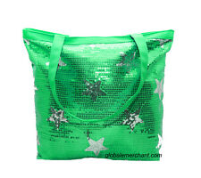 Girls Green Sequin Sparkle Stars Tote Bag Dance Cheer