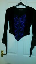 Dark Star Gothic Waistcoat. velvet and lace.  black and purple. small