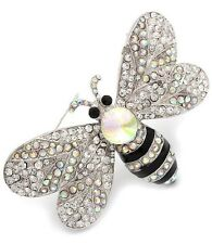 """Bumble Bee Brooch Women Crystal Flower Pin Bright 3 """""""