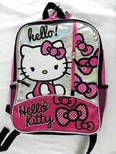 New Sparkly Pink Hello Kitty Full Size Backpack Glitter Polka Dot Bow New w/ Tag