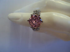 Simulated Pink Diamond rd 10mm Austrian Crystal Ring in Stainless Steel (Size DS