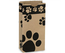 250 Paw Print pet Kraft paper gift bags food packaging wholesale bulk 4x2x8