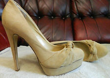 "SHOEDAZZLE PLATFORM TAN FAUX SUEDE COURT SHOES 5"" HEELS NEW NO BOX"