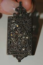FRENCH ART DECO ANTIQUE MARCASITE STERLING LORGNETTE