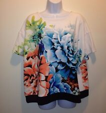 Worthington Short-Sleeve Floral Print Banded Top Plus Size 3X 24 26 ~Free Ship~