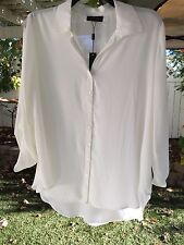 Melissa Paige Woman 1X Ivory Collared Button Front Hi-Lo Blouse Tunic Top NWT