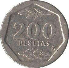 ESPAÑA: 200 PESETAS JUAN CARLOS I. AÑO 1987. MBC. HEXAGONALE. RARA Y ESCASA.