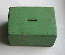 Wood  Rectangular   BOX  BANK  - FGUC  hand made + hand painted  2.75in tall