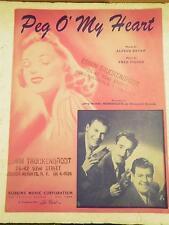 VINTAGE SHEET MUSIC- PEG O' MY HEART- GOOD CONDITION- H51