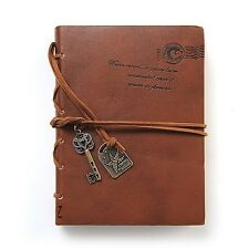 Leather Writing Journal Notebook EvZ Classic Key Bound Retro Vintage Notebook...
