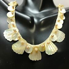 Shell Pearl Nylon Handmade Necklace Costume Estate Jewelry Vintage