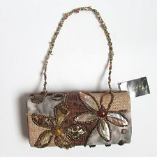 MAGID EVENING Brown Rectangle Beaded Flowers Beaded Strap Bag NWT