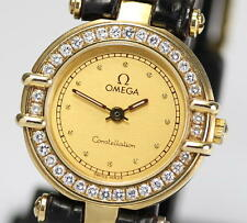 OMEGA Constellation 18K Solid Gold Diamond Bezel Ladies Wrist Watch QZ_208920