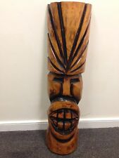 Tiki Large 30 Inch Hawaiian Polynesian Carved Wooden Sculpture Big Teeth