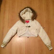 Ivory Cropped Hooded Bolero Jacket with Detachable Faux Fur Hood (Size 12)