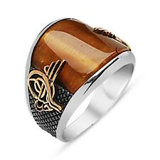 Turkish Ottoman Tughra Tiger's Eye Stone 925 K Sterling Silver Mens Ring