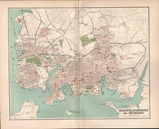 1895 ANTIQUE TOWN PLAN -PLAN OF PLYMOUTH STONEHOUSE AND DEVONPORT