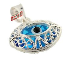 925 Sterling Silver Evil Eye Protection and Luck Filigree Pendant - Amulet Gift
