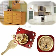 Desk Drawer Dead Bolt Cylinder Lock Box Cabinet Cupboards Panel With Two Keys