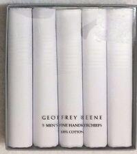 Geoffrey Beene  5-Men's Pure 100% Cotton Handkerchiefs White   (7724)