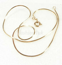 Unisex 45cm Shiny Snake Rope Cube Child Chain Necklace 18K Yellow Gold Plated