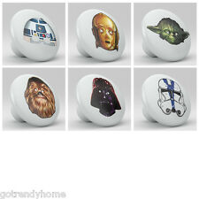 set of 6 Starwars Nursery Ceramic Knobs Pulls Decorated Drawer Dresser 1039