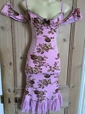 Bnwot Wheels & Dollbaby Size 10-12 Pink Vintage Floral Corset Style Midi Dress
