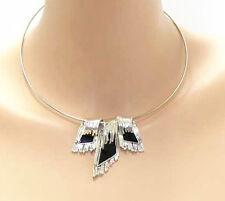 Kette Collier Statement  Paris Anhänger Design Halskette Kollier Versilbert