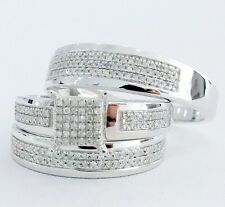 10K White Gold Men Women His Her Diamond Engagement Bridal Wedding Trio Ring Set