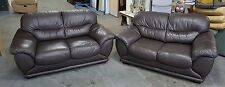 Designer Brown Leather Two 2 Seater Sofa Set.WE DELIVER