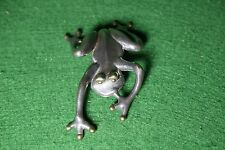 Sterling Silver Frog Brooch / Pin from Israel -  Hand Made - 39 Grams - 4.5""