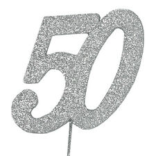 50 Glitter Number on a Pick - 50th Birthday Anniversary Cake Decoration Topper