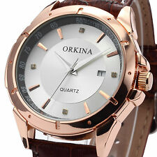 Orkina Rose Gold Case Date Analog Quartz Sport Coffee Leather Mens Wrist Watch