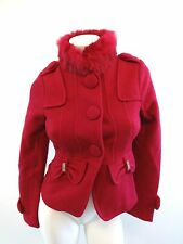 E-MYSHOW WOMENS FUSCHIA PINK WOOL JACKET RABBIT FUR COLLAR SIZE XS
