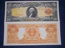 NICE LOOKING CRISP UNC. 1905 $20 GOLD CERTIFICATE COPY