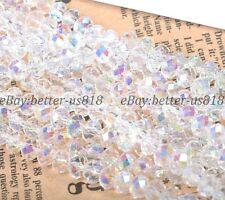 100Pcs Clear AB Czech Crystal Faceted Rondelle Spacer Beads 4MM