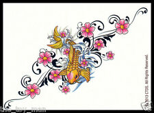 LOT 5 JAPANESE KOI GOLD FISH PINK FLOWER~TEMPORARY TATTOO BODY STICKER FOR WOMEN