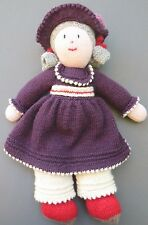 "Beautiful knit crochet DOLL Floppy Hat Gray Curly Hair 15"" tall Soft Body 0-99"